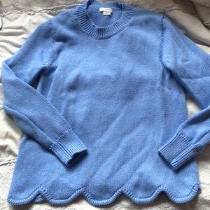 J. CREW - baby blue scallop sweater